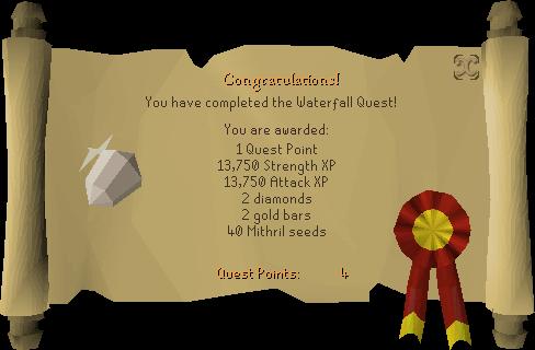Waterfall Quest reward scroll