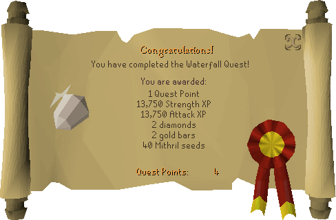Waterfall Quest reward scroll