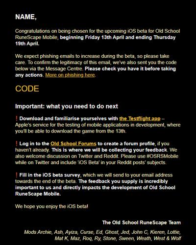 OSRS Mobile- iOS beta invitations sent (3)