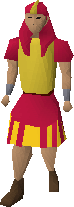 Red menaphite robes with kilt equipped