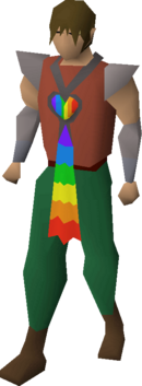 Rainbow scarf equipped