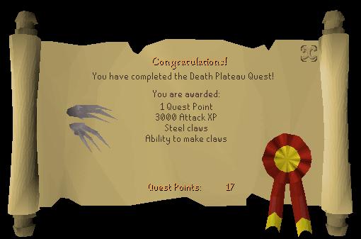 Death Plateau reward scroll