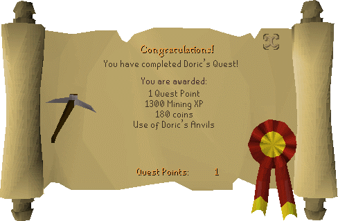 Doric's Quest reward scroll