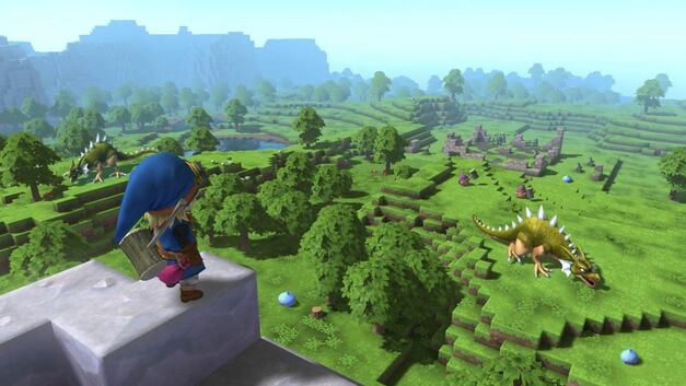Dragon Quest Builders looking over a green vista with a dinosaur grazing in the distance