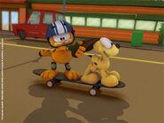 Garfield on skateboard