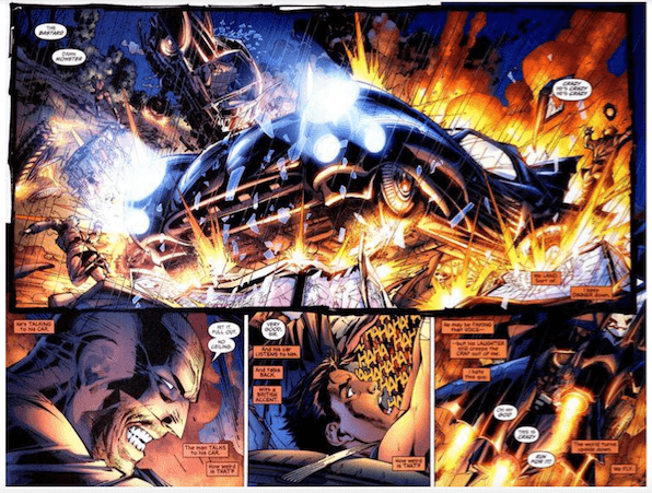 All Star Batman four panel comic illustration featuring Batman as a psychopath crashing his Batmobile.