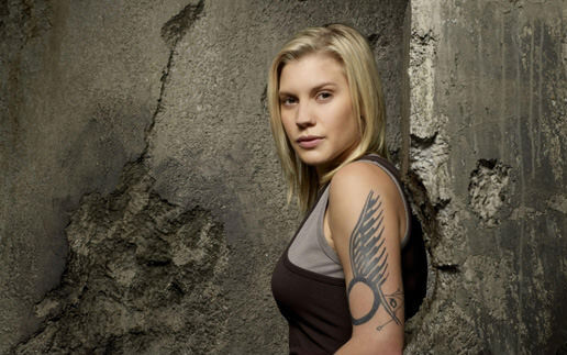 "BATTLESTAR GALACTICA -- Pictured: Katee Sackhoff as Kara ""Starbuck"" Thrace -- SCI FI Channel Photo: Justin Stephens"