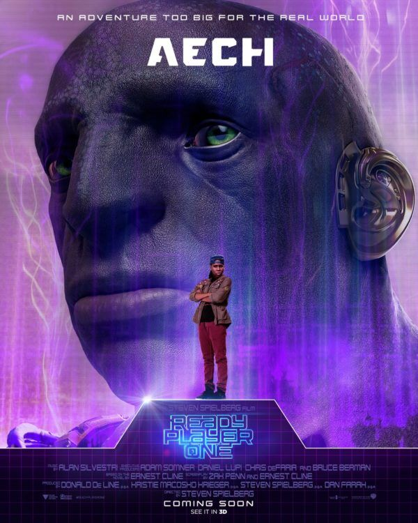 Aech's Character poster, with Lena Waithe standing in the foreground and Aech's orc-face in the background.