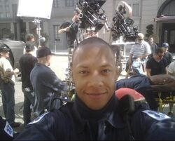 Emerson Brooks on the set of 24