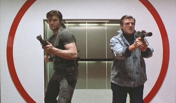The Punisher two guys exit lift with guns