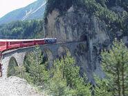 Swiss train entering tunnel