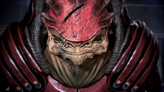 An image of a member of the krogan race from Mass Effect.