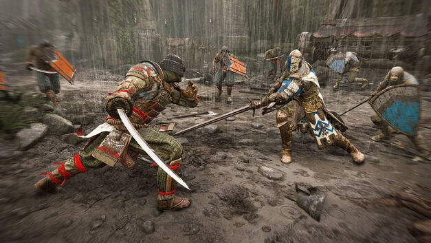 For Honor heroes the samurai and knight face off.