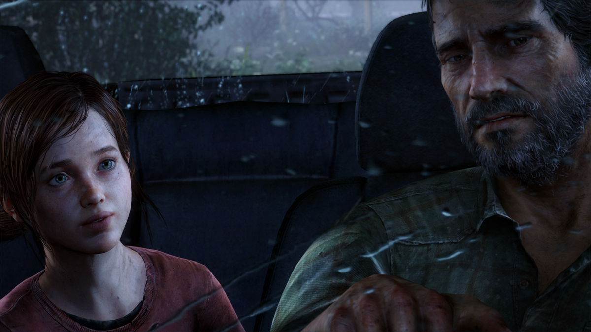 Joel and Ellie in the car in The Last of Us