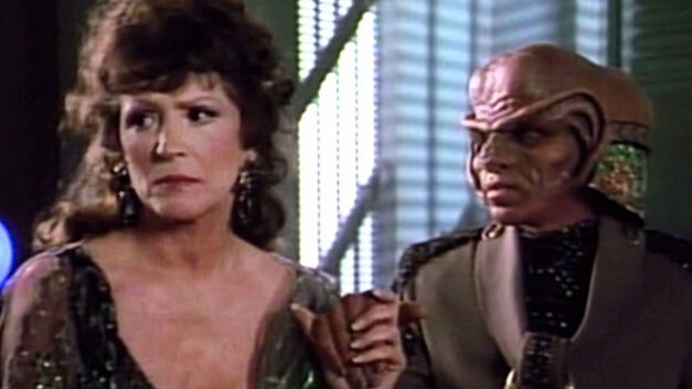 Majel Barret as Lwaxana Troi with Frank Corsentino as Tog on Star Trek: The Next Generation