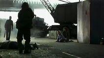 Hazmat soldier checking dead frank