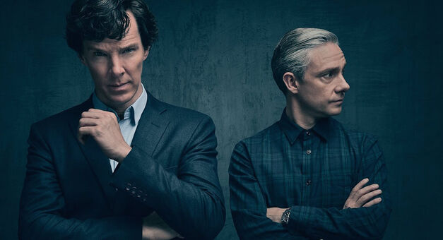 Benedict Cumberbatch and Martin Freeman as Sherlock Holmes and Watson on Sherlock