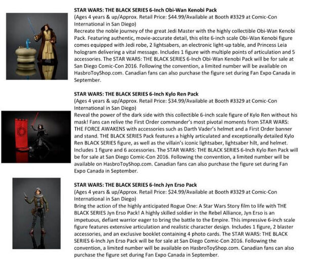 Star Wars Black Series SDCC Exclusives
