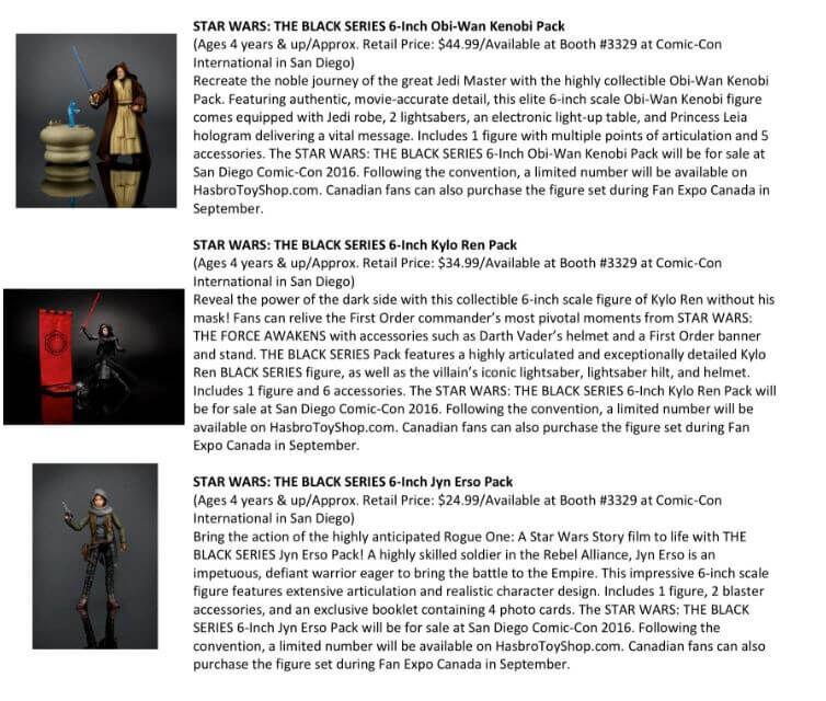 Star Wars Black Series SDCC Exclusives