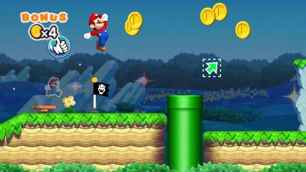A screenshot of Mario racing against a ghost in Super Mario Run.