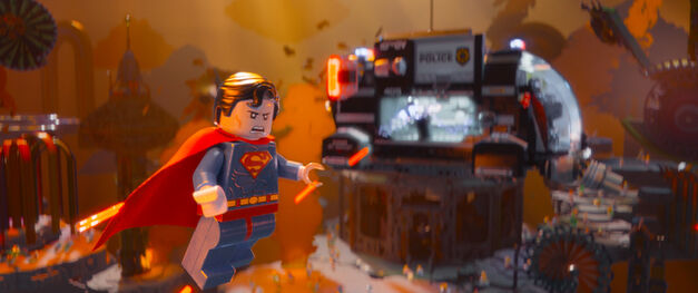 A still of LEGO Superman flying, from The LEGO Movie.