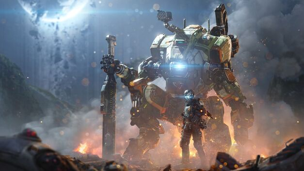 A Pilot and Titan in Titanfall 2