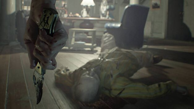Resident Evil VII New Trailer 7 Biohazard Knife with Body on Floor