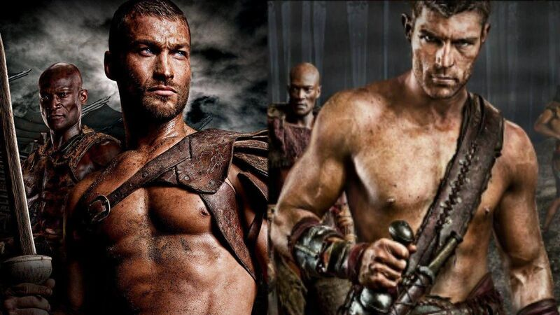 Spartacus Andy Whitfield and Liam McIntyre as Spartacus