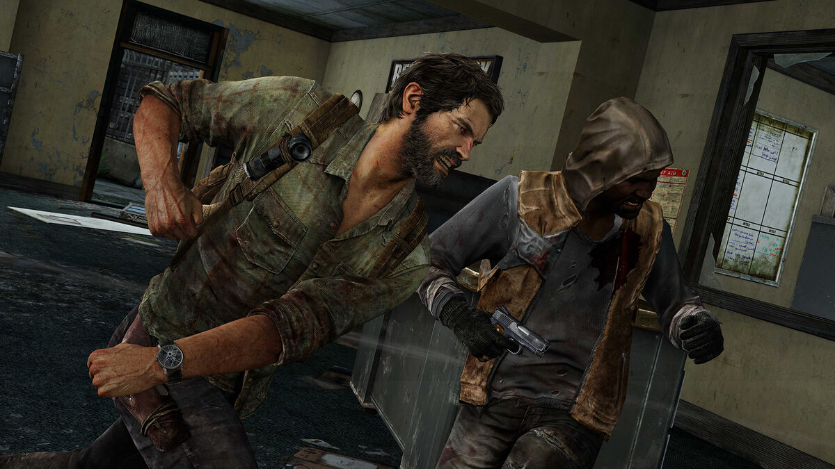 Joel punching a hunter in The Last of Us
