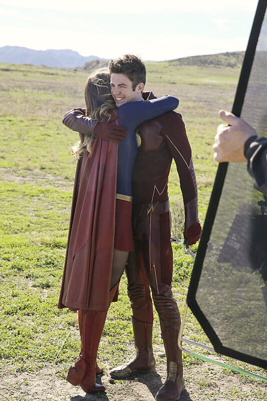 Kara and Barry Hugging