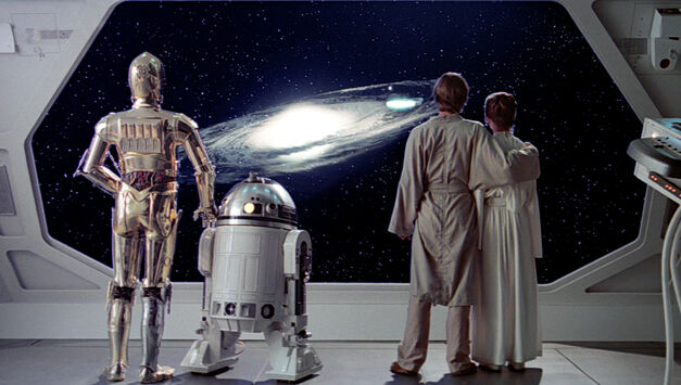 star wars C3PO R2-D2 Luke and Leia looking out a window of a spaceship at a swirling galaxy