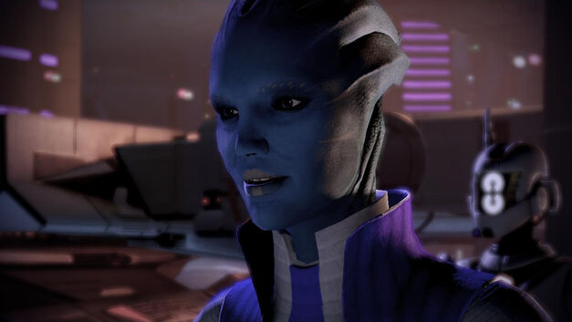 An image of a member of the asari race from Mass Effect.