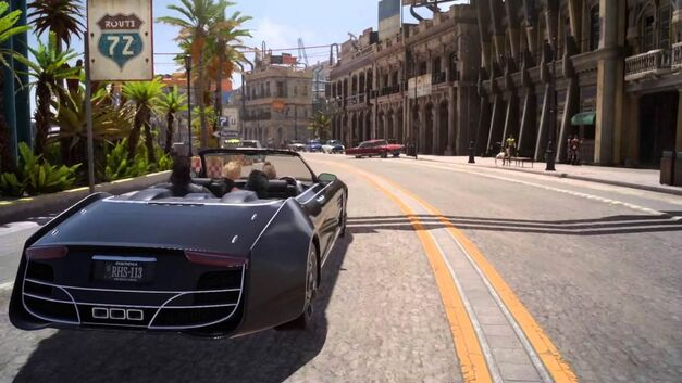 driving down the road in restalm final fantasy xv