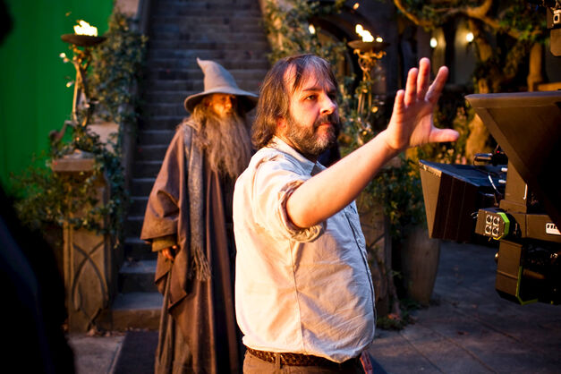 IAN McKELLEN and director PETER JACKSON on the set of THE HOBBIT: AN UNEXPECTED JOURNEY