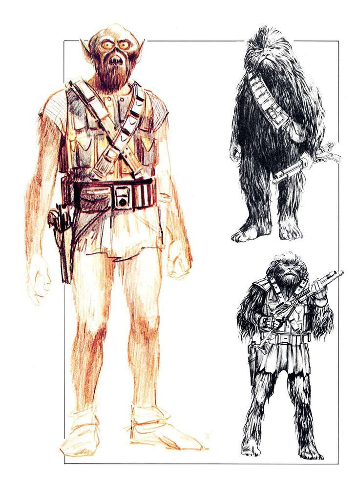 evolution in drawing of chewbacca look