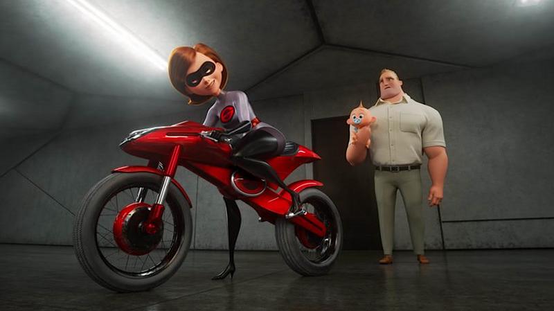 Elastigirl, Jack-Jack, and Mr. Incredible in 'Incredibles 2'
