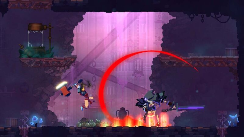 Dead Cells player and enemy swing at each other