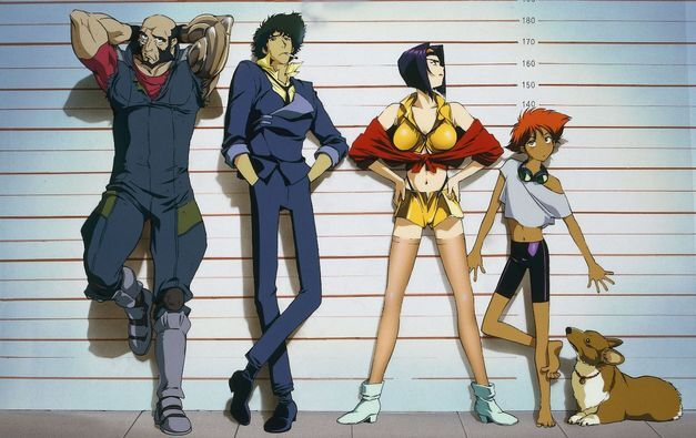 The Bebop crew standing together in a police lineup.