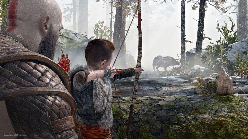 Kratos' son aims at a boar