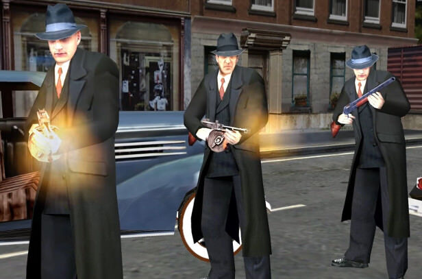 mafia video game three gangsters firing tommy guns