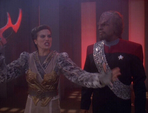 Judzea dax and Worf in the Klingon world debating