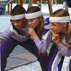 The Holt Kids in purple tracksuits