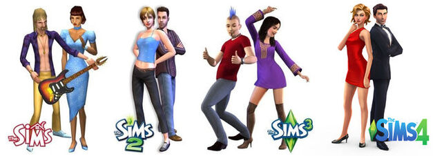 4 generations of Sims