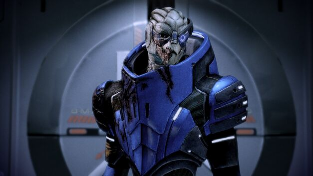 An image of a member of the turian race from Mass Effect.