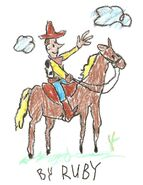 Toy Story 1 Woody On Horse Drawing (Ruby)
