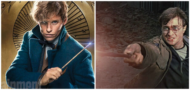 newt Scamander and harry potter with their wands out