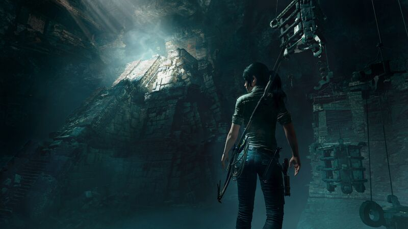 Lara exploring an Aztec tomb in Shadow Of The Tomb Raider