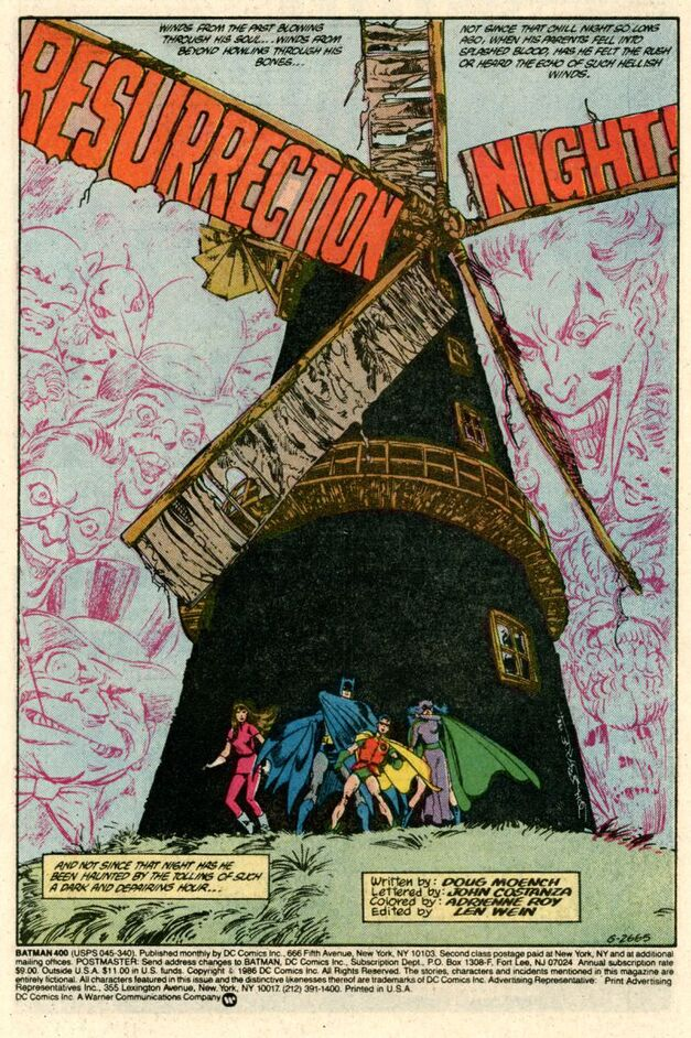 batman issue 400 opening page windmill with batman, robin and other heroes beneath