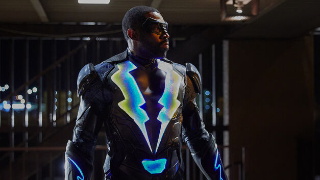 Black Lightning in his suit.