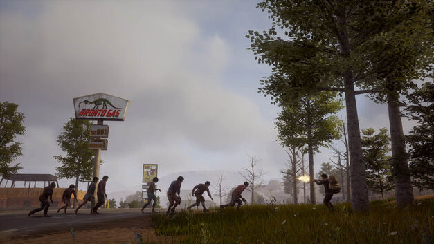 A survivor shoots into a pack of zombies on a forest's edge.